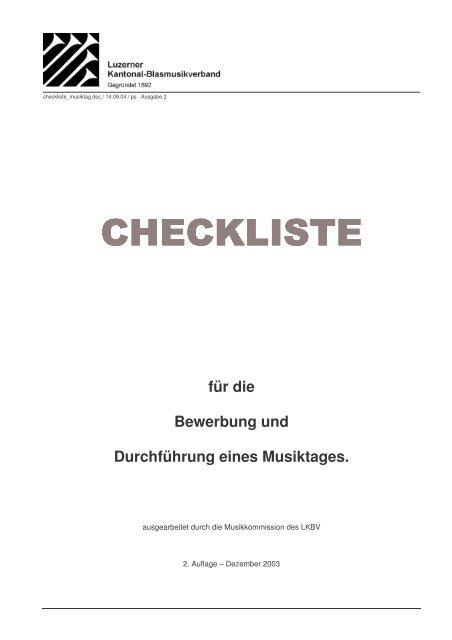 Checkliste für die Bewerbung und Durchführung eines Musiktages