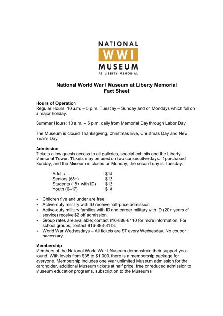 Fact Sheet - National World War I Museum at Liberty Memorial