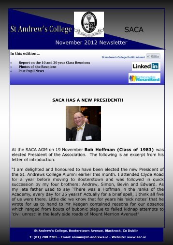 November 2012 Newsletter - St. Andrew's College, Dublin
