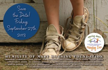 Save the Date! - Humility of Mary Housing