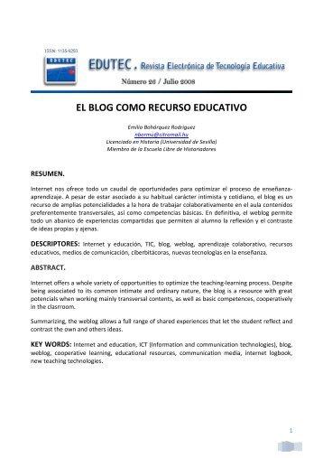 el blog como recurso educativo - Comunidad Virtual Tecnología ...