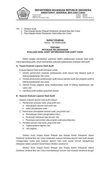 Petunjuk Pelaksanaan Evaluasi Hasil Audit Kepabeanan Dan Audit ...