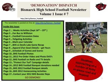 Vol. 1 Issue 7 DEMONATION DISPATCH Football Newsletter