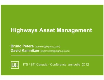 Highways Asset Management - (ITS) Canada
