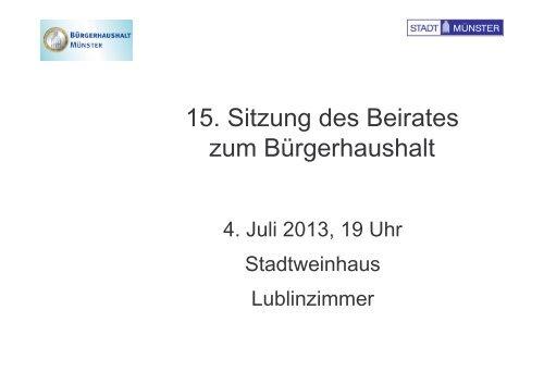 Folien der 15. Sitzung vom 04.07.2013 - Bürgerhaushalt