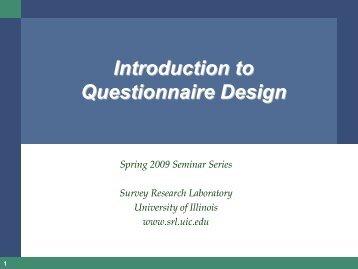 Questionnaire Design Clinic - Survey Research Laboratory