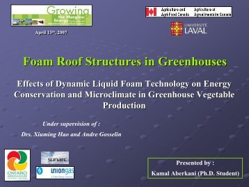 Foam Roof Structures in Greenhouses