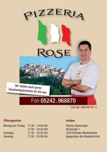 Speisekarte Pizzeria Rose A5 - Foto Kirschner