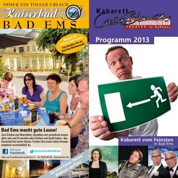Programm 2013 - Kabarett CasaBlanca