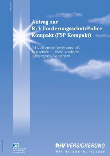 Antrag zur R+V-ForderungsschutzPolice Kompakt (FSP Kompakt)