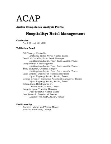 Hospitality - Instructional Resources & Technology - Austin ...