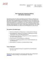 Das Angebot der Arbeitsvermittlung der AOZ für Gemeinden - Zürich
