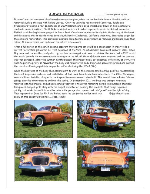 a jewel in the rough - Studebaker Drivers Club Hamilton Chapter