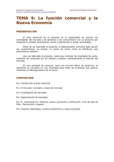 TEMA 9: La función comercial y la Nueva Economía - Ecobachillerato