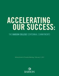 THE BABSoN CoLLEGE CENTENNIAL COMMITMENTs