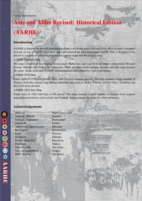 Axis and Allies Revised: Historical Edition (AARHE)