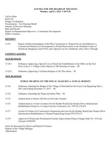 AGENDA FOR THE BOARD OF TRUSTEES Monday ... - Deerfield