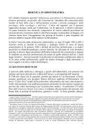 BIOETICA IN ODONTOIATRIA - Governo Italiano