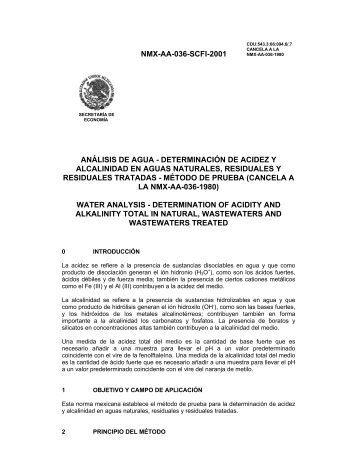 NMX-AA-036-SCFI-2001 ANÁLISIS DE AGUA ... - CONAGUA