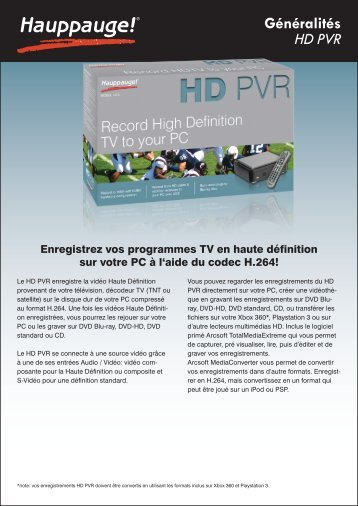 Généralités HD PVR Enregistrez vos programmes TV ... - Hauppauge