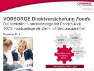 VORSORGE Direktversicherung Fonds - Anbieter