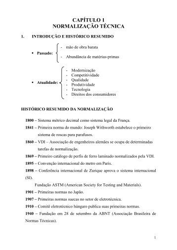 Cap 1 - Normalização Técnica - Sistemas
