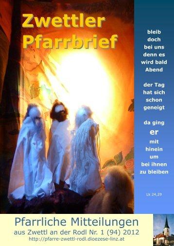 Pfarrbrief Nr. 1/2012 - Pfarre Zwettl an der Rodl