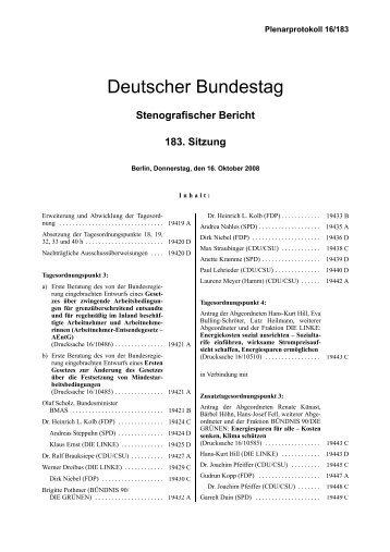 Stenografischer Bericht 183. Sitzung - Deutscher Bundestag