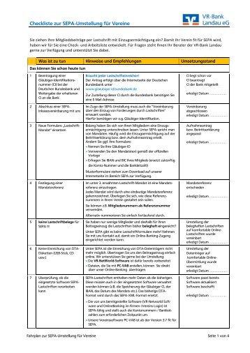 Checkliste zur SEPA-Umstellung für Vereine - VR-Bank Landau eG