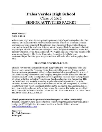 2012 Senior Packet - Palos Verdes High School