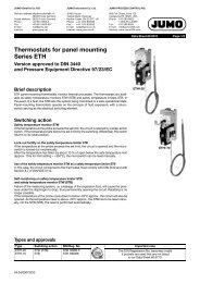 Thermostats for panel mounting Series ETH