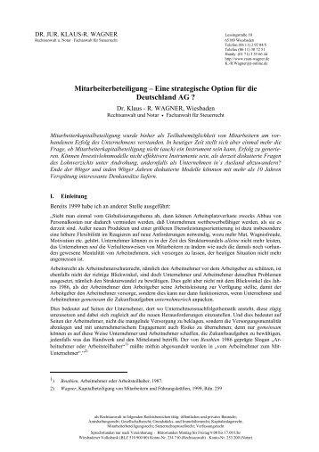 Ansehen - Dr. iur. Klaus-R. Wagner