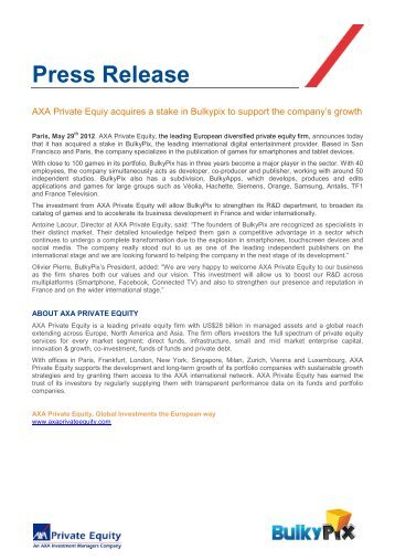 Press Release Bulkypix.pdf - Axa Private Equity
