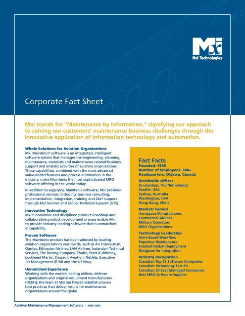 Corporate Fact Sheet - Mxi Technologies