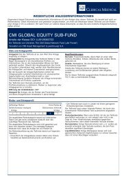 CMI GLOBAL EQUITY SUB-FUND - Clerical Medical