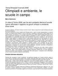 Olimpiadi e ambiente, le scuole in campo - Il Portale Italiano dell ...