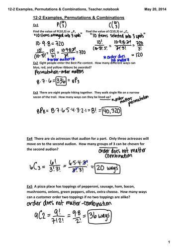 Algebra 4 Permutations & Combinations Worksheet Name: 1. Fifteen ...