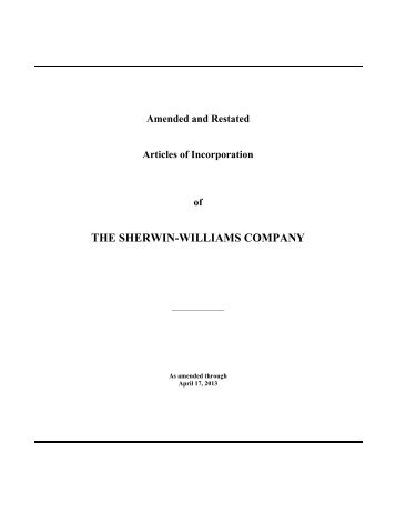 THE SHERWIN-WILLIAMS COMPANY - Investor Relations ...