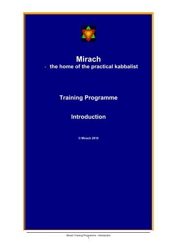 the home of the practical kabbalist Training Programme ... - Mirach