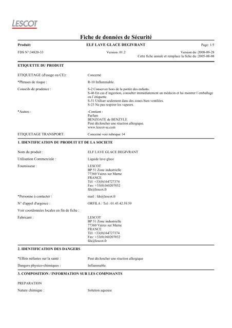 elf lave glace degivrant - Accueil - Société - Produits - Contact ...