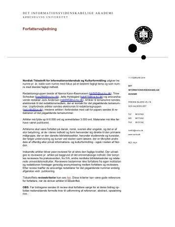Printvenlig version (pdf) - Nordisk Tidsskrift for ...