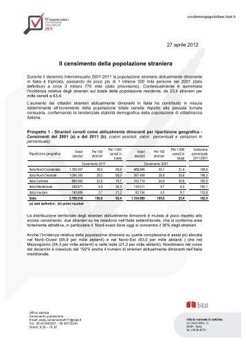 Il Censimento della popolazione straniera - Istat