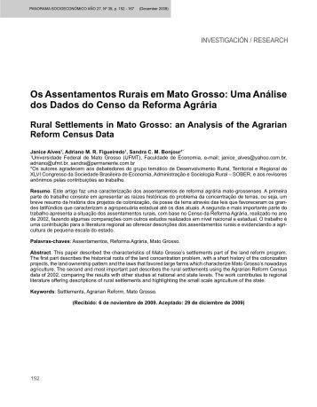 Os Assentamentos Rurais em Mato Grosso - Revista Panorama ...