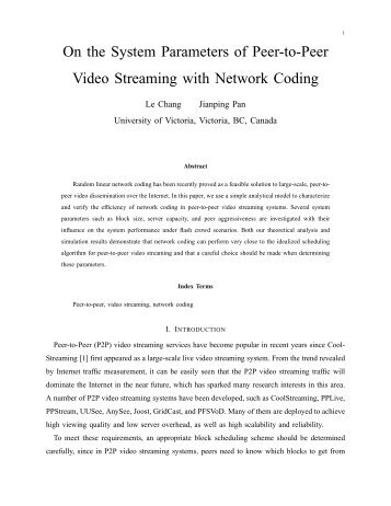 On the System Parameters of Peer-to-Peer Video Streaming with ...