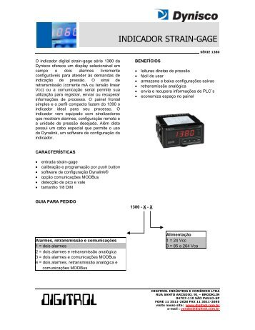 Indicador digital 1380 Dynisco - Digitrol
