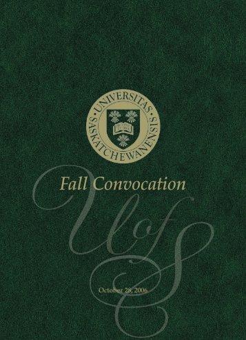 Fall Convocation - Students - University of Saskatchewan