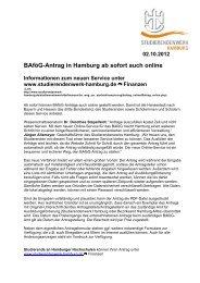 02.10.2012 BAföG-Antrag in Hamburg ab sofort auch online - AStA