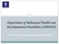 DBHDD Division of Developmental Quality Management Work Plan