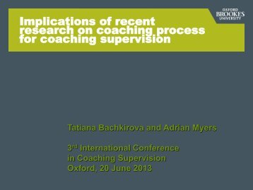 Download Tatiana and Adrian's presentation - Oxford Brookes ...