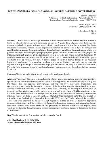 DETERMINANTES DA INOVAÇÃO NO BRASIL: O PAPEL ... - Anpec